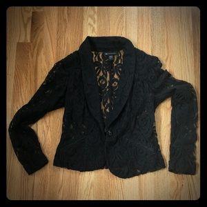 Inc brand black button front lace blazer